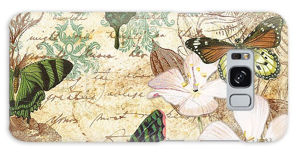 Vintage Butterfly Kisses  Galaxy Case by Jean Plout