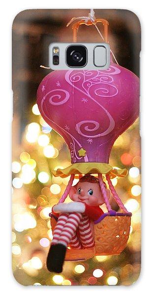 Vintage Christmas Elf Hot Air Balloon Ride Galaxy Case by Barbara West