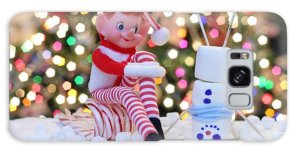 Vintage Christmas Elf Upside Down Snowman Galaxy Case by Barbara West