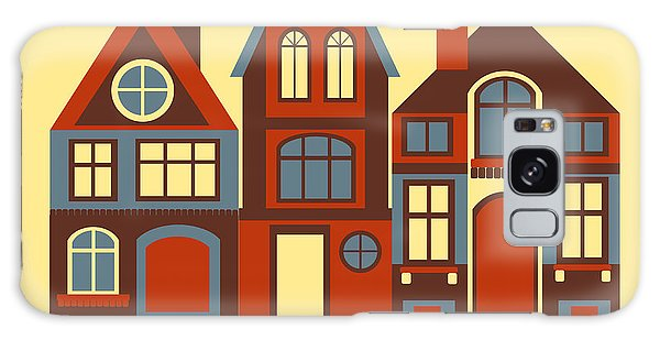 Cartoon Galaxy Case - Vintage City Houses On Yellow Background by Okhristy