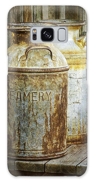 Vintage Creamery Cans In 1880 Town In South Dakota Galaxy Case