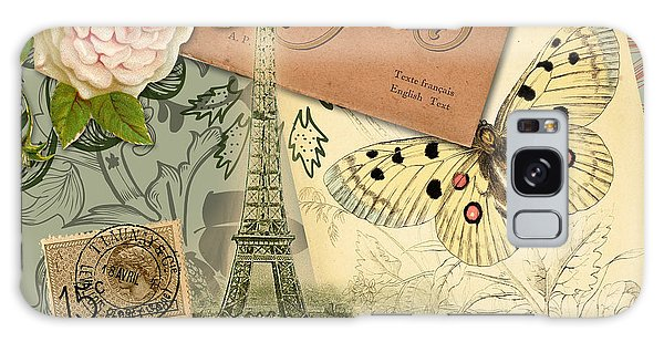 Vintage Eiffel Tower Paris France Collage Galaxy Case by Mary Hubley