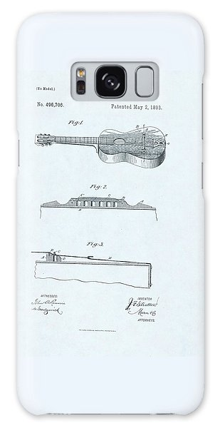 Guitar Patent Drawing On Blue Background Galaxy Case