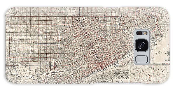 Vintage Map Of Detroit Michigan From 1947 Galaxy Case by Blue Monocle