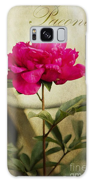Vintage Peony Galaxy Case by MaryJane Armstrong
