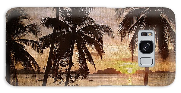 Beach Sunset Galaxy Case - Vintage Philippines by Delphimages Photo Creations