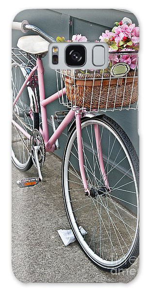Vintage Pink Bicycle With Pink Flowers Art Prints Galaxy Case