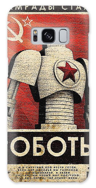 Vintage Russian Robot Poster Galaxy Case by R Muirhead Art