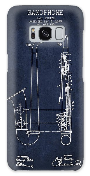 Saxophone Patent Drawing From 1899 - Blue Galaxy Case by Aged Pixel