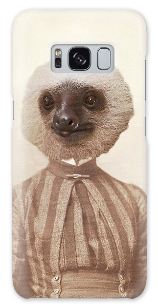 Vintage Sloth Girl Portrait Galaxy Case