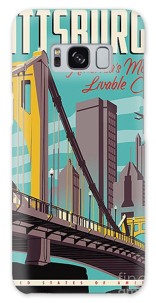 Poster Galaxy Case - Pittsburgh Poster - Vintage Travel Bridges by Jim Zahniser