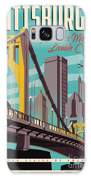 Skylines Galaxy S8 Case - Vintage Style Pittsburgh Travel Poster by Jim Zahniser