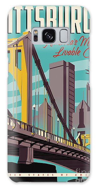 City Scenes Galaxy S8 Case - Pittsburgh Poster - Vintage Travel Bridges by Jim Zahniser