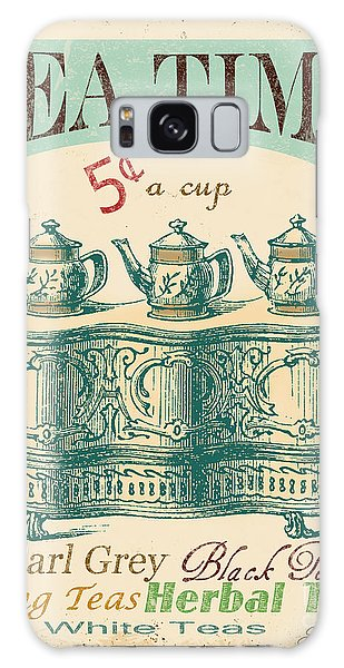 Vintage Tea Time Sign Galaxy Case by Jean Plout