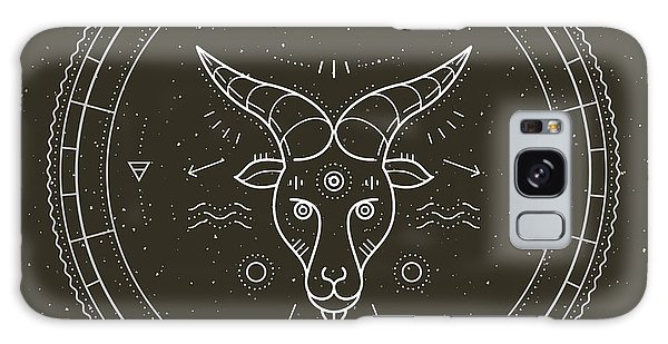 Calendar Galaxy Case - Vintage Thin Line Capricorn Zodiac Sign by Painterr