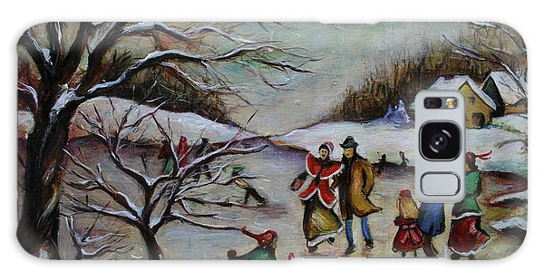Vintage Winter Scene/skating Away Galaxy Case by Melinda Saminski