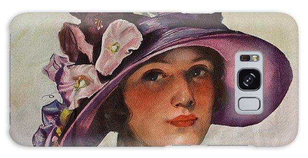 Vintage Woman In Floral Hat Galaxy Case