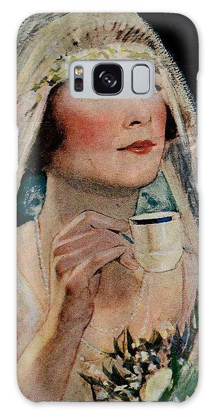 Vintage Woman With Tea Galaxy Case