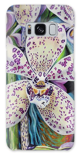 Violet Dotted Orchid Galaxy Case by Jane Girardot