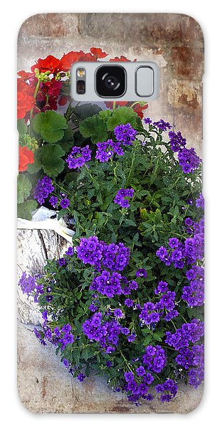 Violets And Geraniums On The Bricks Galaxy Case