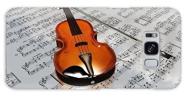 Violin On Sheet Music Backdrop With Clouds Reflecting Galaxy Case by Bruce Rolff