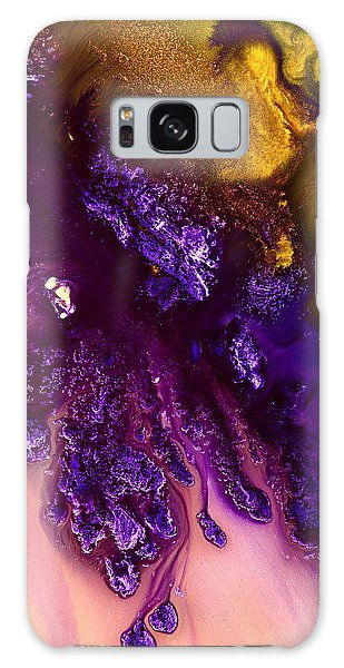 Vivid Abstract Art Purple Fugitive-gold Tones Fluid Painting By Kredart Galaxy Case