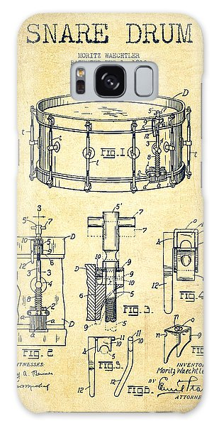 Drum Galaxy Case - Waechtler Snare Drum Patent Drawing From 1910 - Vintage by Aged Pixel