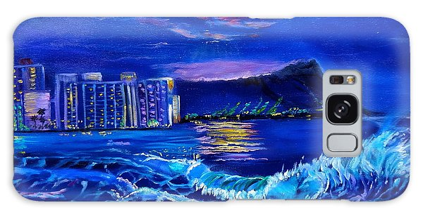 Waikiki Lights Galaxy Case by Jenny Lee
