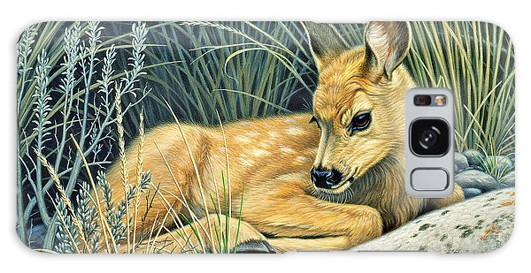 Waiting For Mom-mule Deer Fawn Galaxy Case
