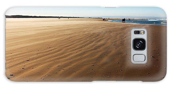 Walking On Windy Beach. Galaxy Case