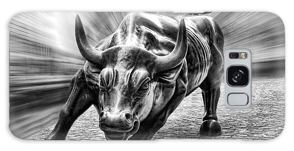 Wall Street Bull Black And White Galaxy Case