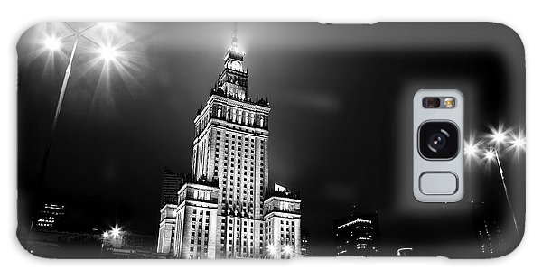 Warsaw Poland Downtown Skyline At Night Galaxy Case