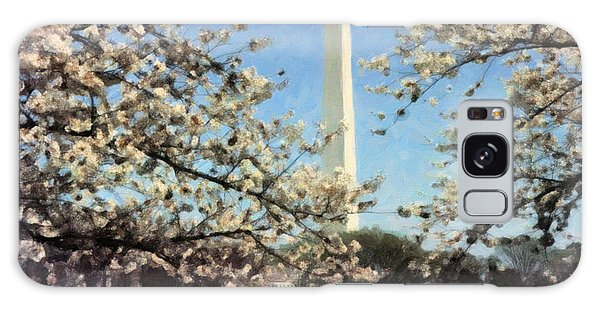 Washington Monument Cherry Blossoms Galaxy Case by Spyder Webb