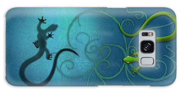 water colour print of twin geckos and swirls Duality Galaxy Case