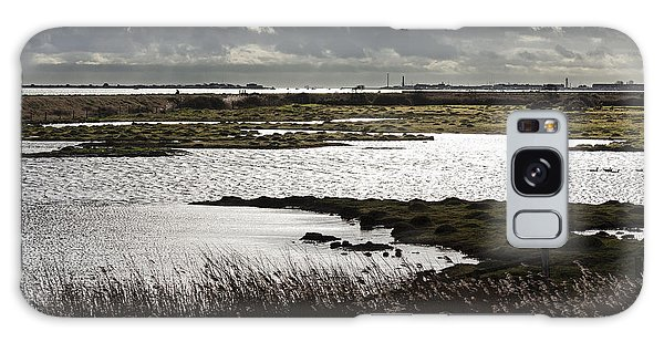 Water Reflection Storm Clouds At Farlington Marshes Wetlands Galaxy Case