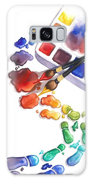 Galaxy Case - Watercolor Footprints by Conni  Reinecke