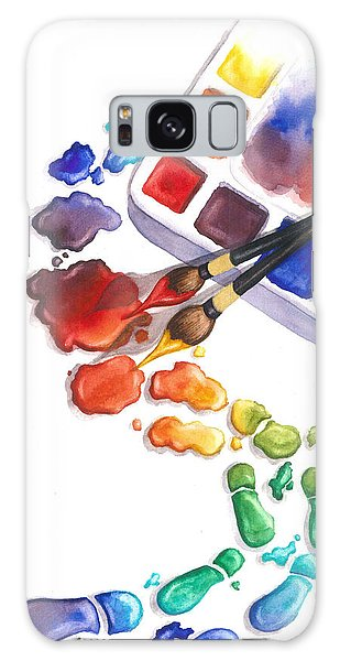Drop Galaxy Case - Watercolor Footprints by Conni  Reinecke