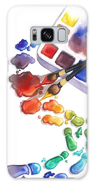 Bright Galaxy Case - Watercolor Footprints by Conni  Reinecke