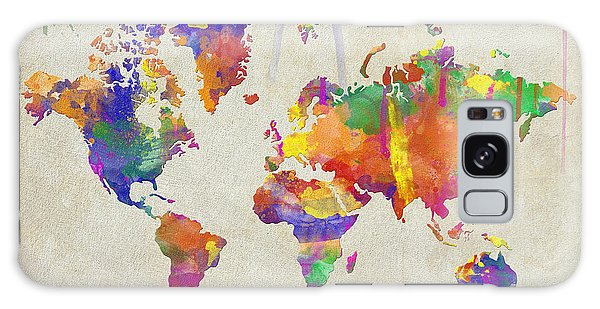 Watercolor Impression World Map Galaxy Case by Zaira Dzhaubaeva