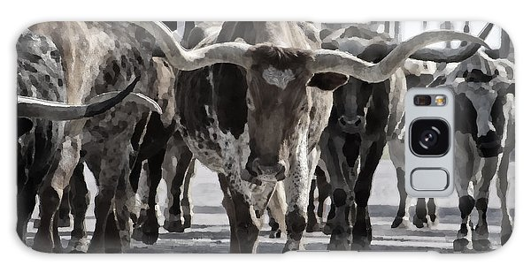 Old Road Galaxy Case - Watercolor Longhorns by Joan Carroll