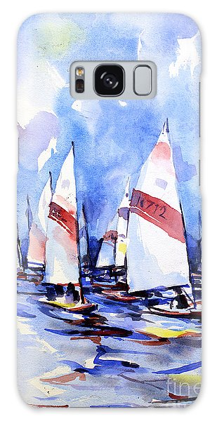 Watercolor Of Scow Boats Racing Torch Lake Mi Galaxy Case