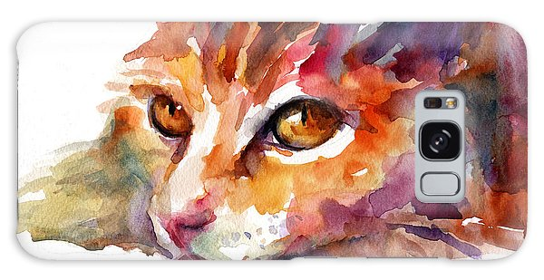 Watercolor Pet Portraits Galaxy Case - Watercolor Orange Tubby Cat by Svetlana Novikova