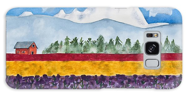 Watercolor Painting Landscape Of Skagit Valley Tulip Fields Art Galaxy Case