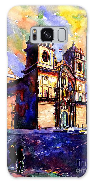 Watercolor Painting Of Church On The Plaza De Armas Cusco Peru Galaxy Case