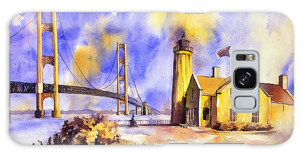 Watercolor Painting Of Ligthouse On Mackinaw Island- Michigan Galaxy Case