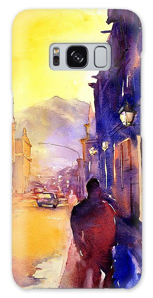 Watercolor Painting Of Street And Church Morelia Mexico Galaxy Case