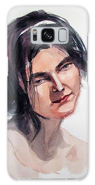 Watercolor Portrait Of A Young Pensive Woman With Headband Galaxy Case