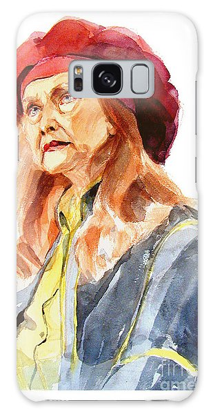 Watercolor Portrait Of An Old Lady Galaxy Case by Greta Corens
