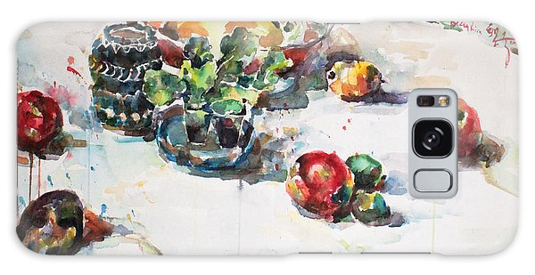 Watercolor Still Life In April Galaxy Case by Becky Kim