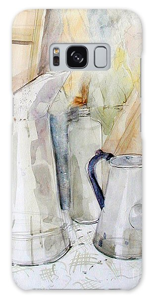 Watercolor Still Life Of White Cans Galaxy Case